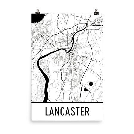 Map Of England Lancaster.Modern Map Art Lancaster Map Art Print Lancaster England Art Poster