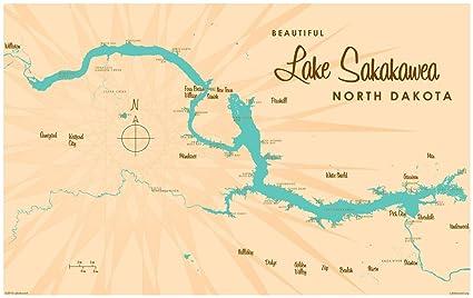 Amazon.com: Lake Sakakawea North Dakota Map Vintage-Style Art Print ...