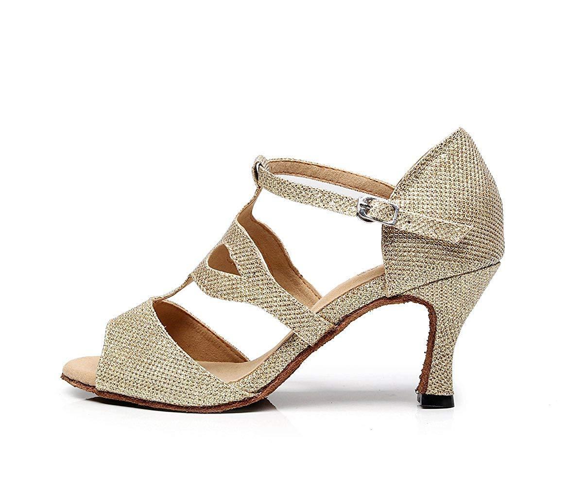 ZHRUI TJ7135 Damen Mädchen T-Strap Gold Glitter Salsa Latin Dancing 6.5 Sandalen UK 6.5 Dancing (Farbe   -, Größe   -) 8ad642