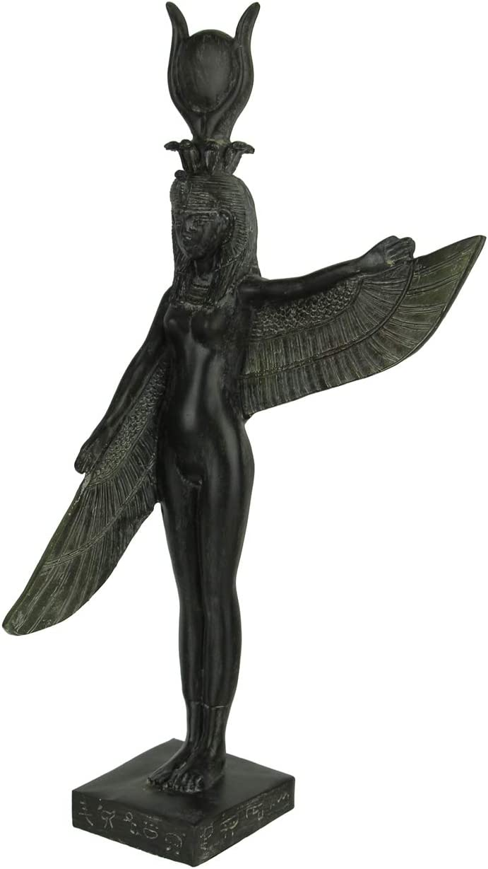 Things2Die4 Green Stone Finish Isis Winged Egyptian Goddess Statue