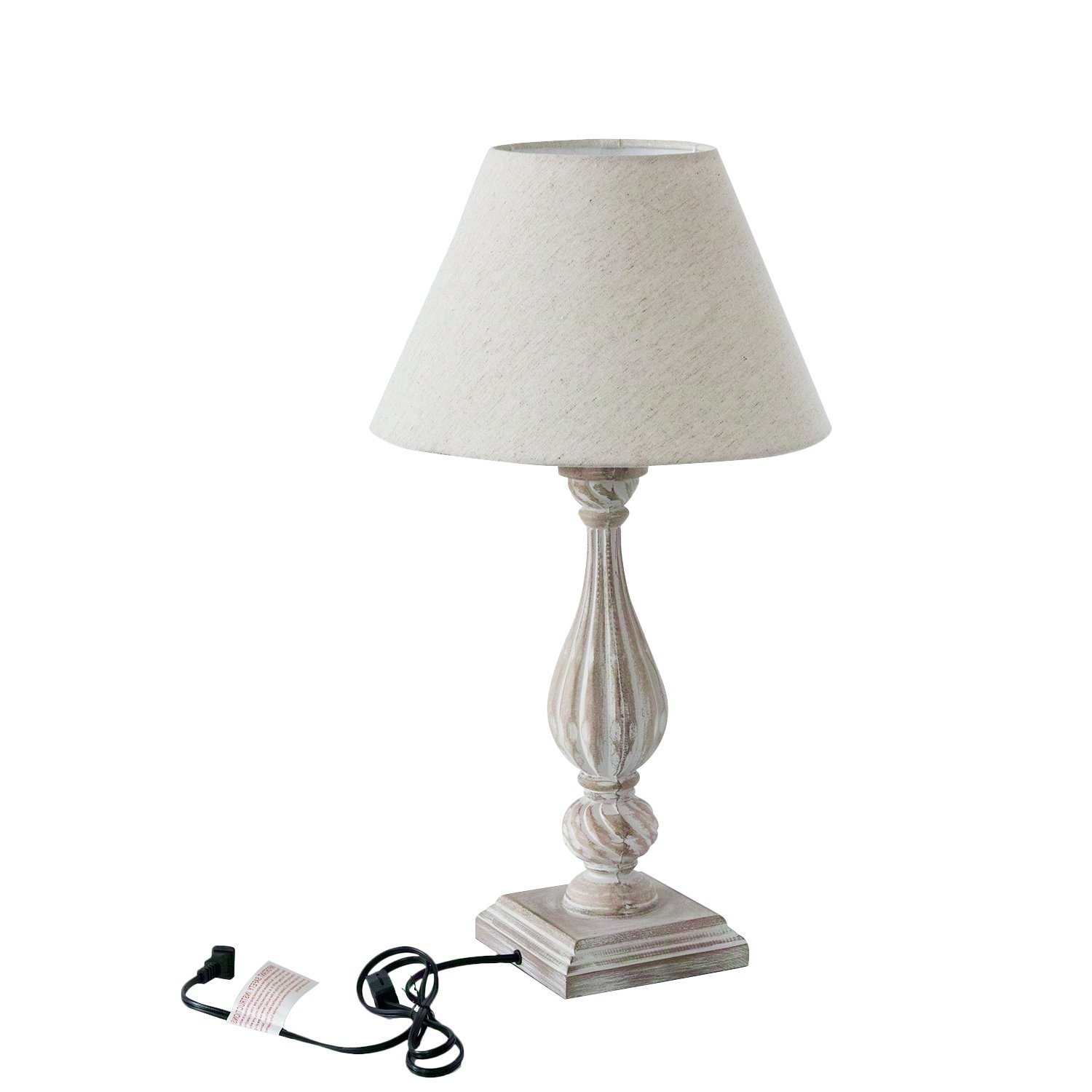 DecentHome Solid Wood Table Lamp, 25.20'' H, Distressed Finish, Ivory Shade