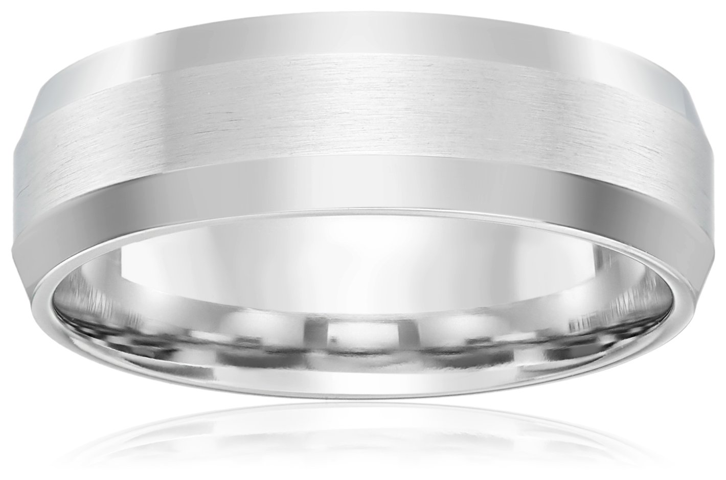 10k White Gold 6mm Comfort-Fit Wedding Band with Satin Center and High-Polish Beveled Edges, Size 8.5