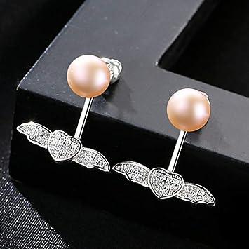 THTHT 7-7.5Mm Freshwater Pearl 925 Sterling Silver Stud Earrings for Women Wing Popular Double Wear Women Earrings,Purple