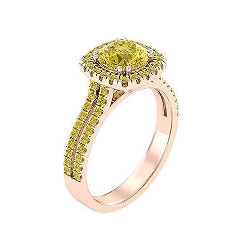 Mejor compromiso anillos de bodas en 2,50 CT amarillo circonita redonda Cut Crystal montado