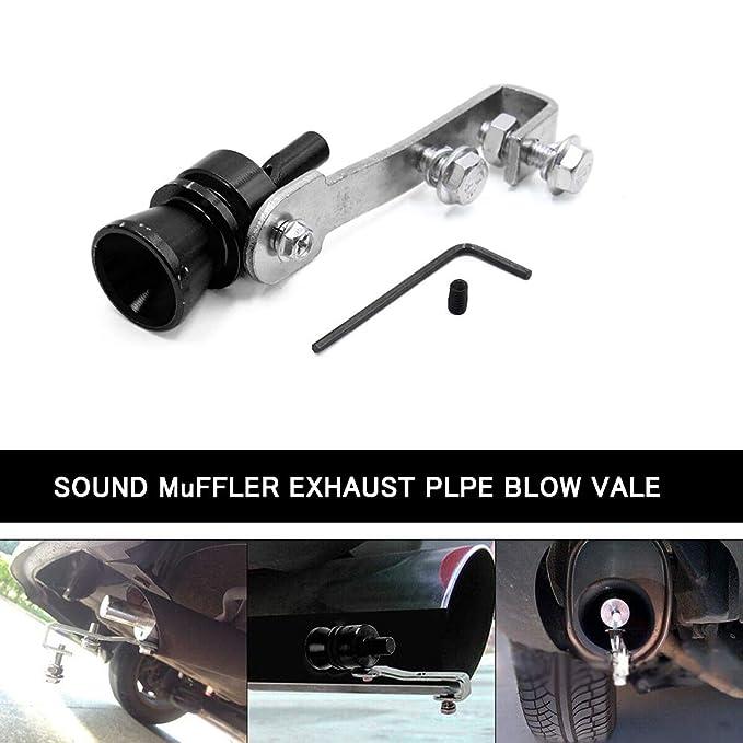 argento Vosarea in lega di alluminio auto Turbo suono tubo di scarico fischio tubo di scarico Tubo di scarico simulatore Taglia XL