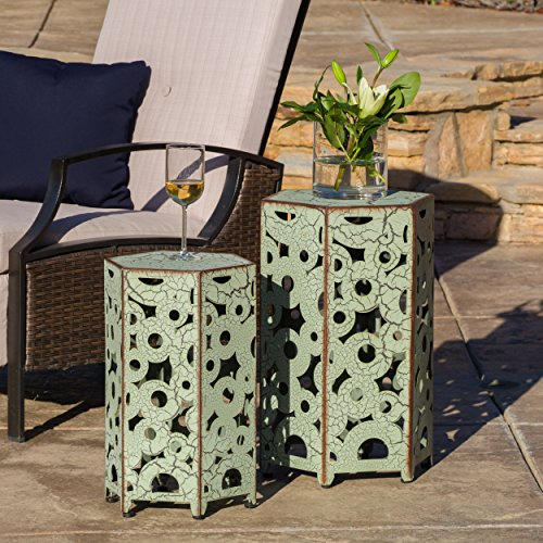 Noble Iron - Noble House 296678 Gwendolyn Iron Antique Outdoor Accent Table Set, Green