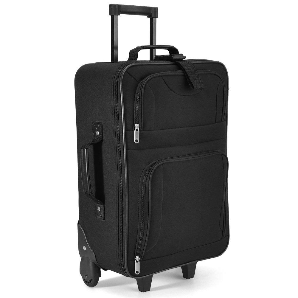 Conjunto de equipaje - 4 piezas - juego de maletas Negro - Equipaje de viaje 60 litros-maletas blandas bolsas trolley con ruedas negro -sistema de correas a ...