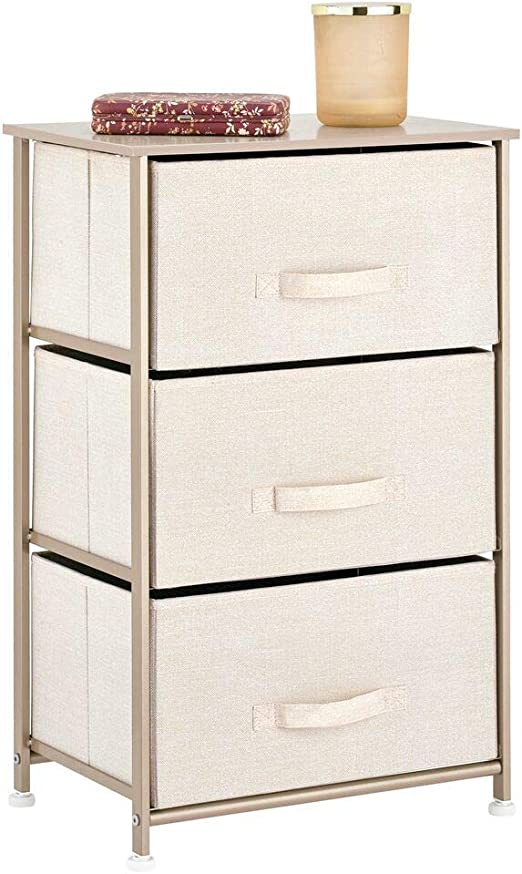 Sturdy Steel Frame Organizer Unit for Child//Kids Bedroom or Nursery Easy Pull Fabric Bins Linen//Natural Textured Print Wood Top mDesign Vertical Dresser Storage Tower 3 Drawers