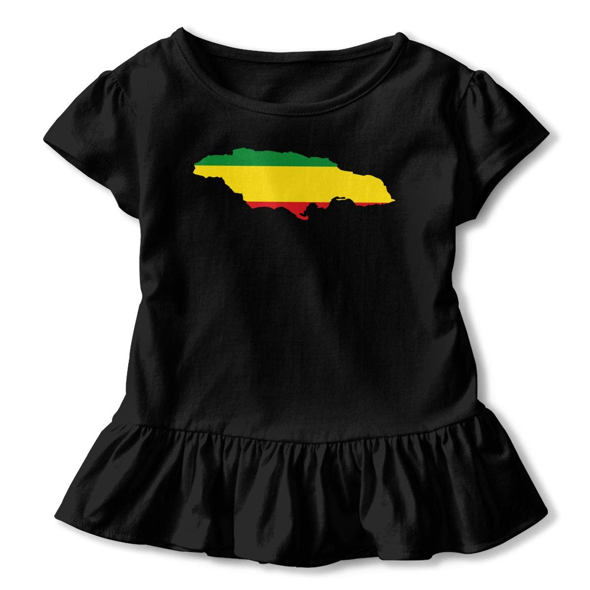 JVNSS Flag Map of Ethiopia Shirt Cartoon Baby Girl Flounced T Shirts Basic Shirt for 2-6T Kids Girls