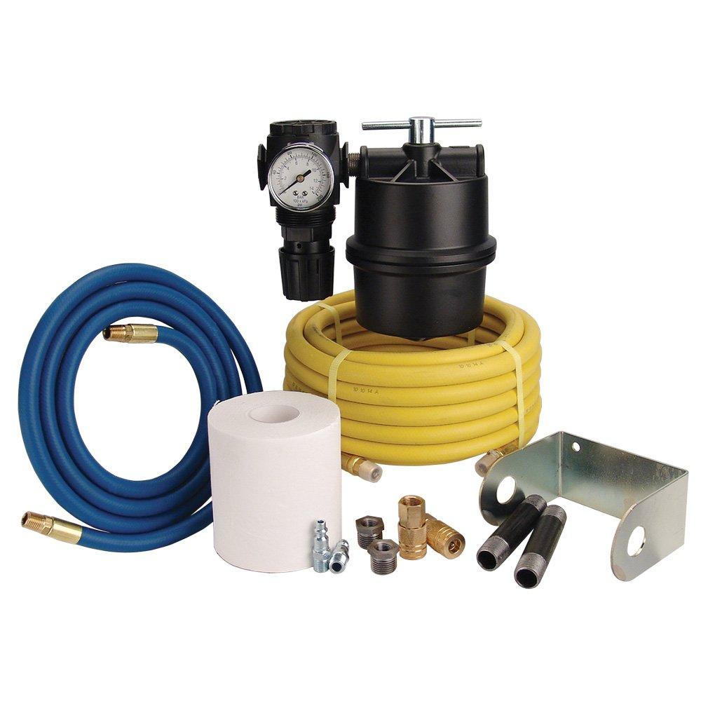 TP Tools Sandblast Cabinet Coalescing Moisture Remover Hookup Kit - 1/2'' Motor Guard Coalescing Filter (M-60) & Master Pneumatic 1/2'' Air Regulator (R350-4H) Bundled with Hoses & Accessories, 13 Items