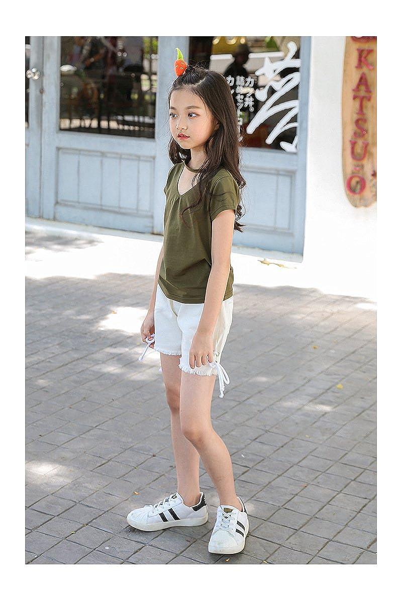 ACVIP Girls Plain Color Choker Decorated Cotton T-Shirt Top