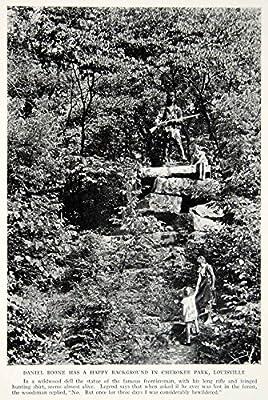 1934 Print Cherokee Park Daniel Boone Statue Kentucky Landmark Historical NGMA6 - Original Halftone Print