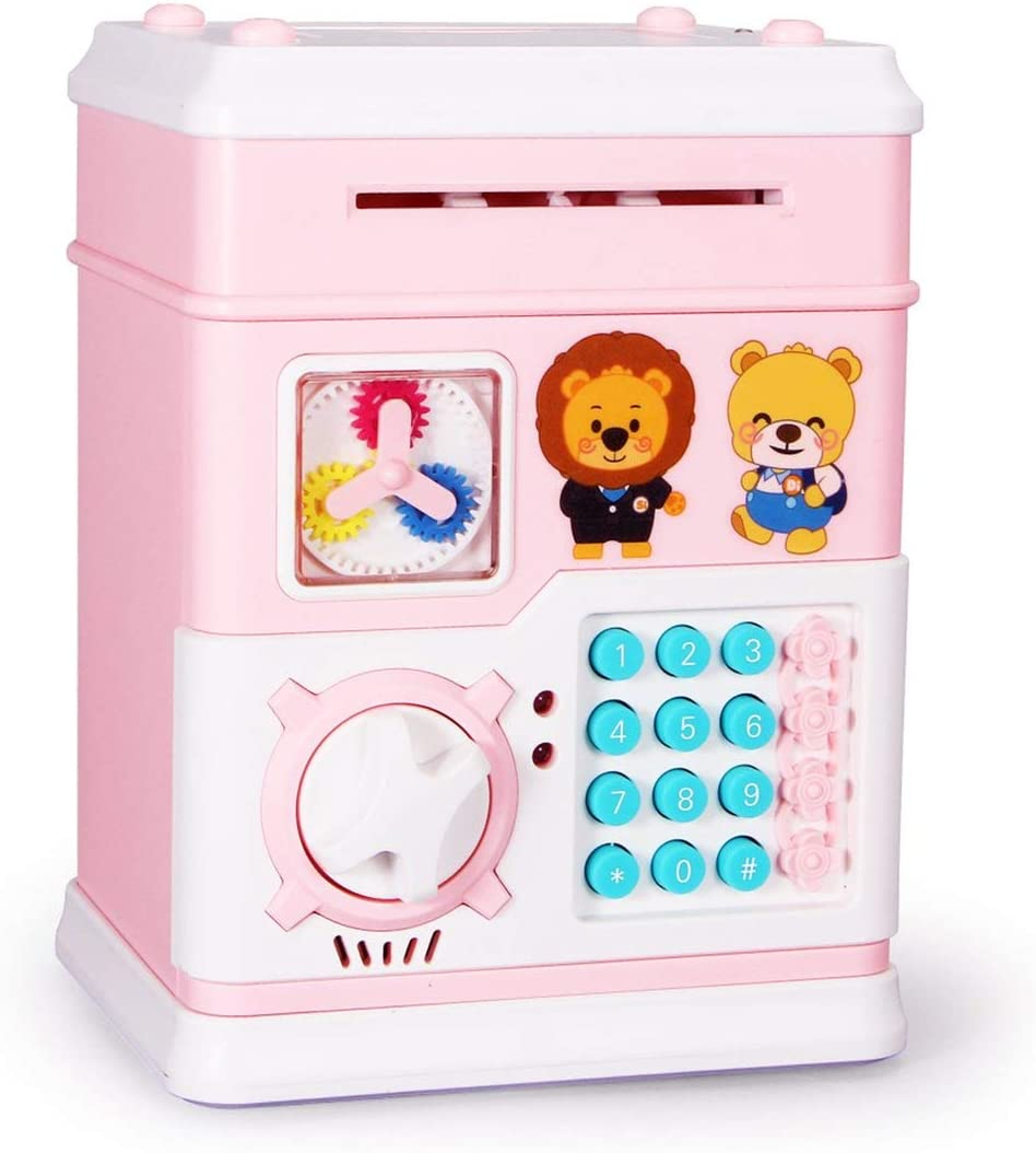 Togames-ES MoFun Automatic Electronic Piggy Bank ATM Password Money Box Cash Coin Saving Safe Deposit Story Educational Toys for Kids: Amazon.es: Juguetes y juegos
