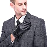 Leather Gloves for men,Anccion Best Touchscreen Winter Warm Italian Nappa Geniune Leather Gloves for Men's Texting Driving Wool/Cashmere Blend Cuff (Large)