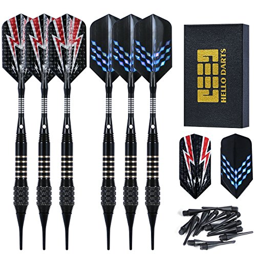 (Vopa 6 Pack Professional 18 Grams Soft Tip Dart Set with 18 Plastic Soft Tip Points Aluminum Shafts and Slim Dart Flight for Electronic Dartboard)