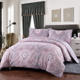 Simple&Opulence Polyester Light Purple 3 Piece Bedding Palace Floral Duvet Cover Set (Twin)