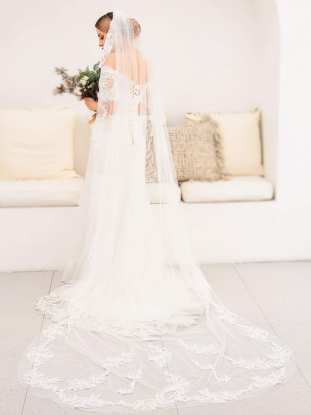 Barogirl Wedding Veil Lace White Bridal Cathedral Veil 1 Tier Embroidery Drop Veil Long for Brides, 118 Inches (White)