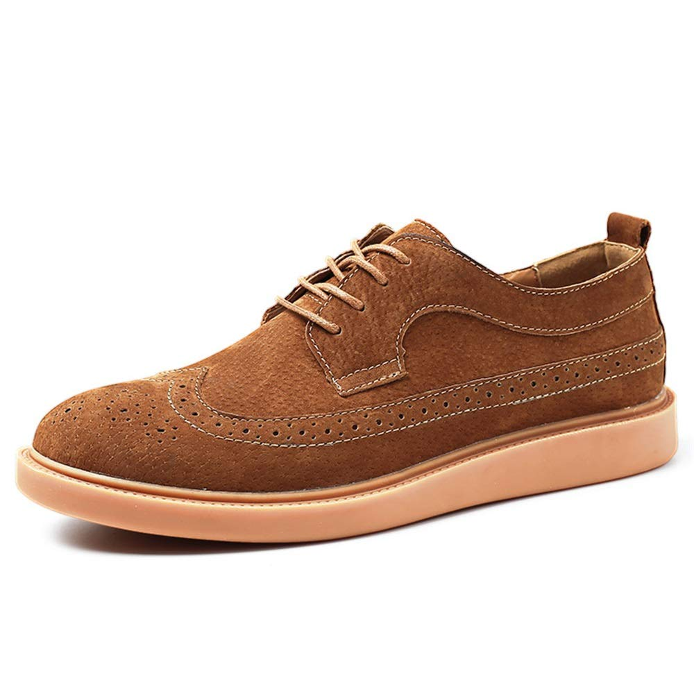 Fashion Men's Oxford Casual Comfortable Breathable Classic Carved Lace-up Brogue shoes Men's Boots (color   Brown, Size   7.5 UK)
