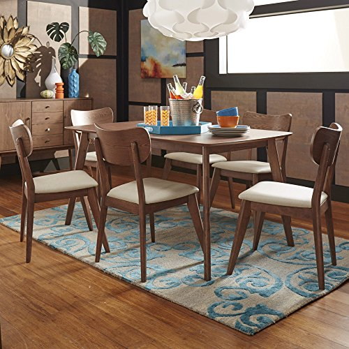 iNSPIRE Q Penelope Danish Modern Walnut Dining Set by Modern 6 Piece 6-Piece Sets