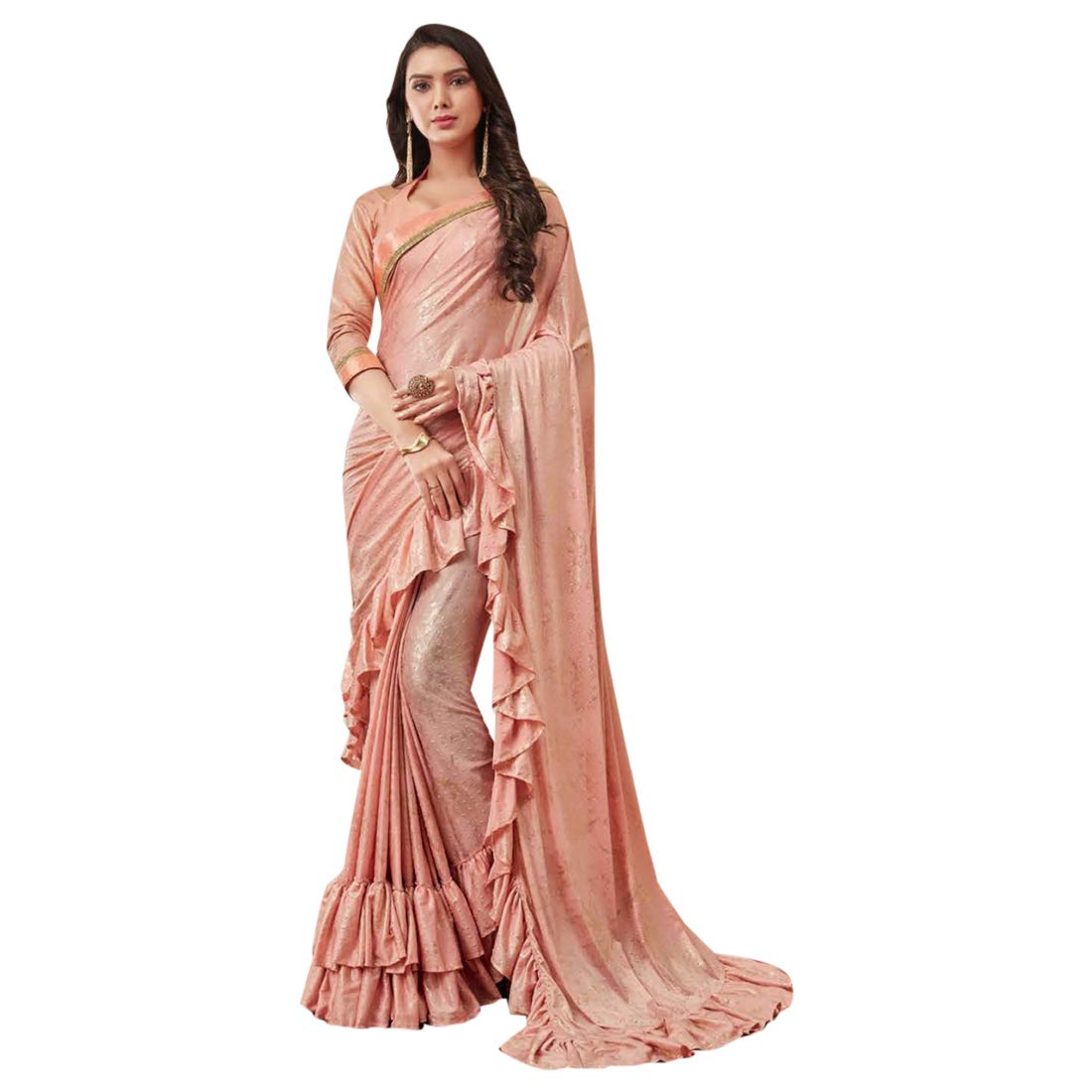 Peach Indian Ethnic Designer Saree Ruffle Border Multifabric Sari with Blouse piece Women Party wear 7770