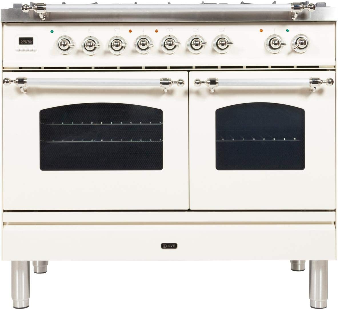 Ilve UPDN100FDMPBX Nostalgie Series 40 Inch Dual Fuel Convection Freestanding Range, 5 Sealed Brass Burners, 4 cu.ft. Total Oven Capacity in White, Chrome Trim (Natural Gas)