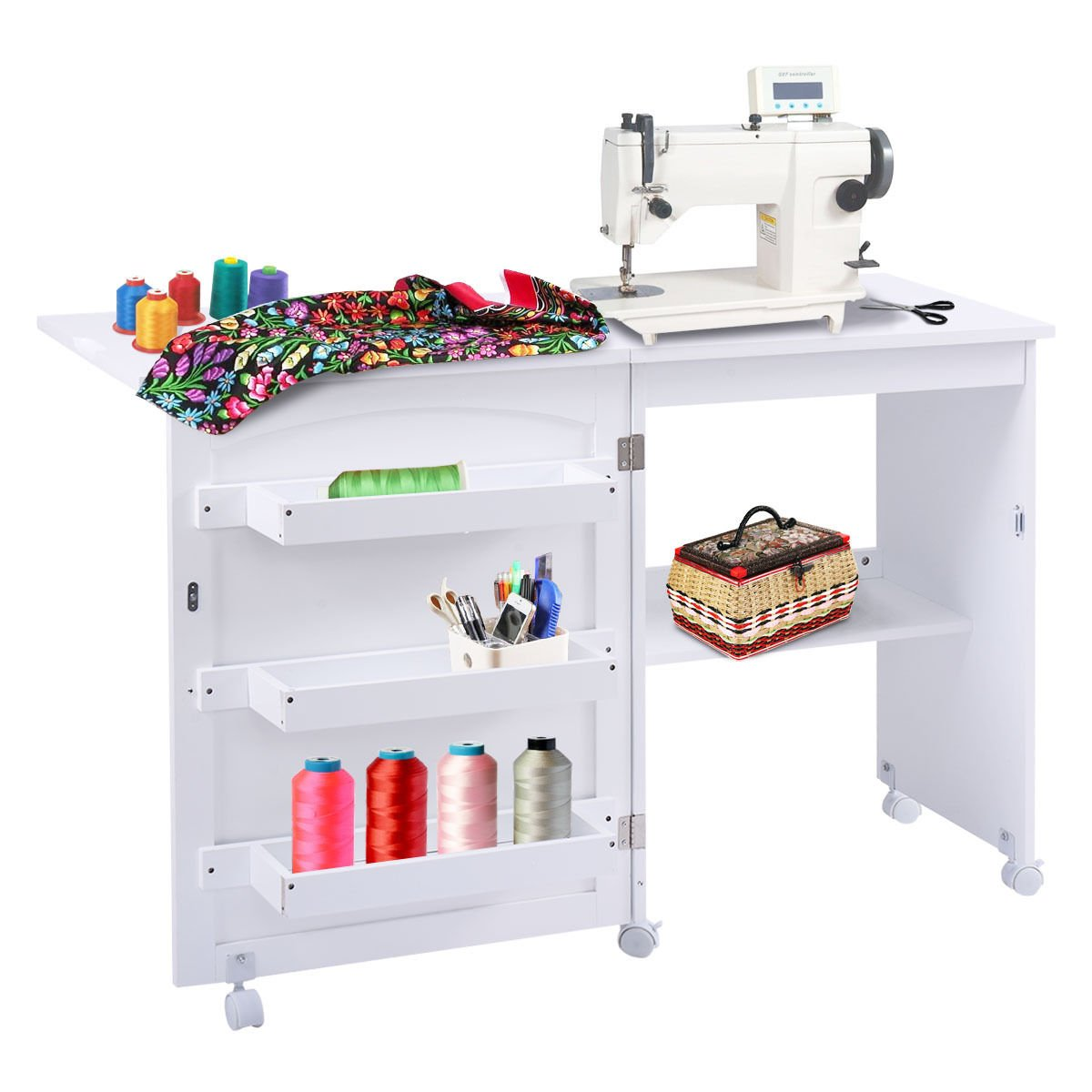 Amazon.com Giantex White Folding Sewing Craft Cart Table Shelves Storage Cabinet Home Furniture W/ Wheels  sc 1 st  Amazon.com & Amazon.com: Giantex White Folding Sewing Craft Cart Table Shelves ...