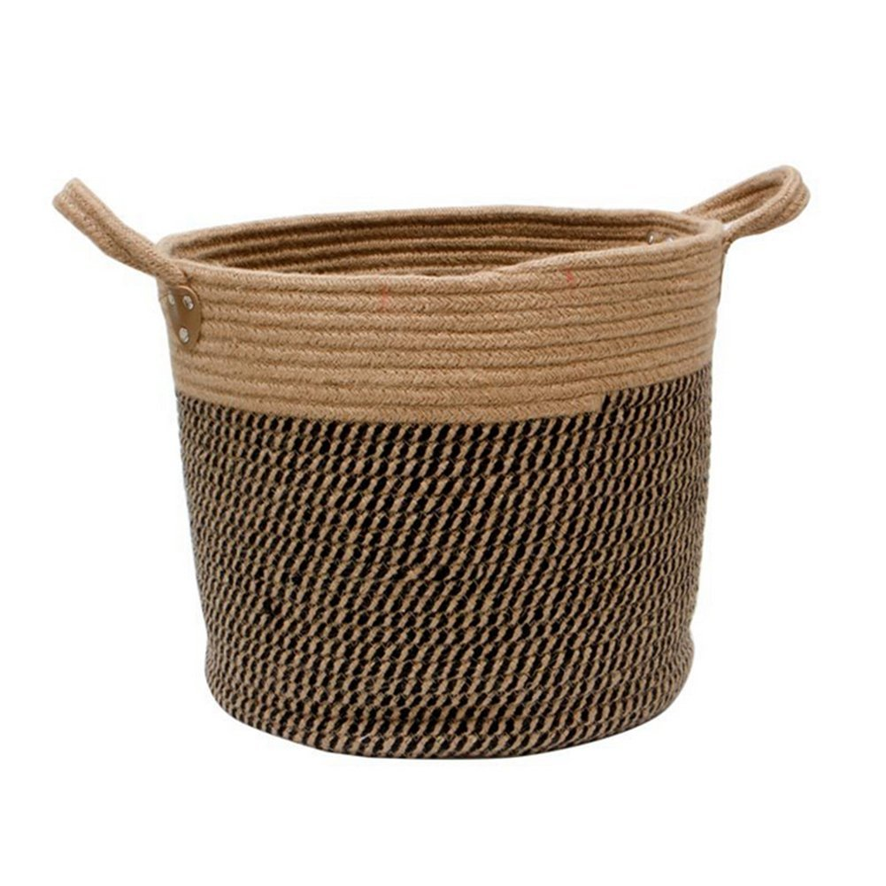 Homankit Large Jute Basket Woven Storage Basket with Handles - Natural Jute Laundry Basket Toy Towels Blanket Basket Storage - Baby Shower Gift - 35 cm x 30 cm (30 Litre)