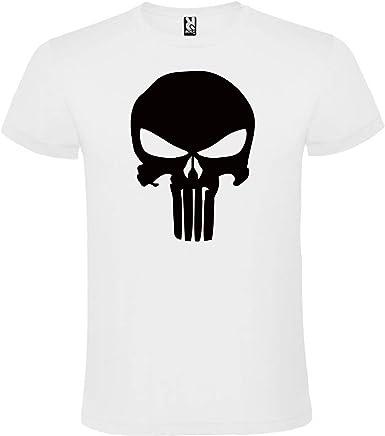 Camiseta Punisher Logo Blanca para Hombre 100% ALGODÓN Talla S M L XL XXL XXXL Mangas Cortas (S): Amazon.es: Ropa y accesorios