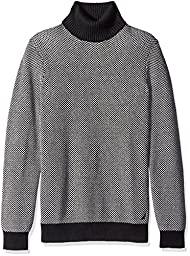 Nautica Men\'s Long Sleeve Turtle Neck Jacquard Sweater, True Black, XX-Large