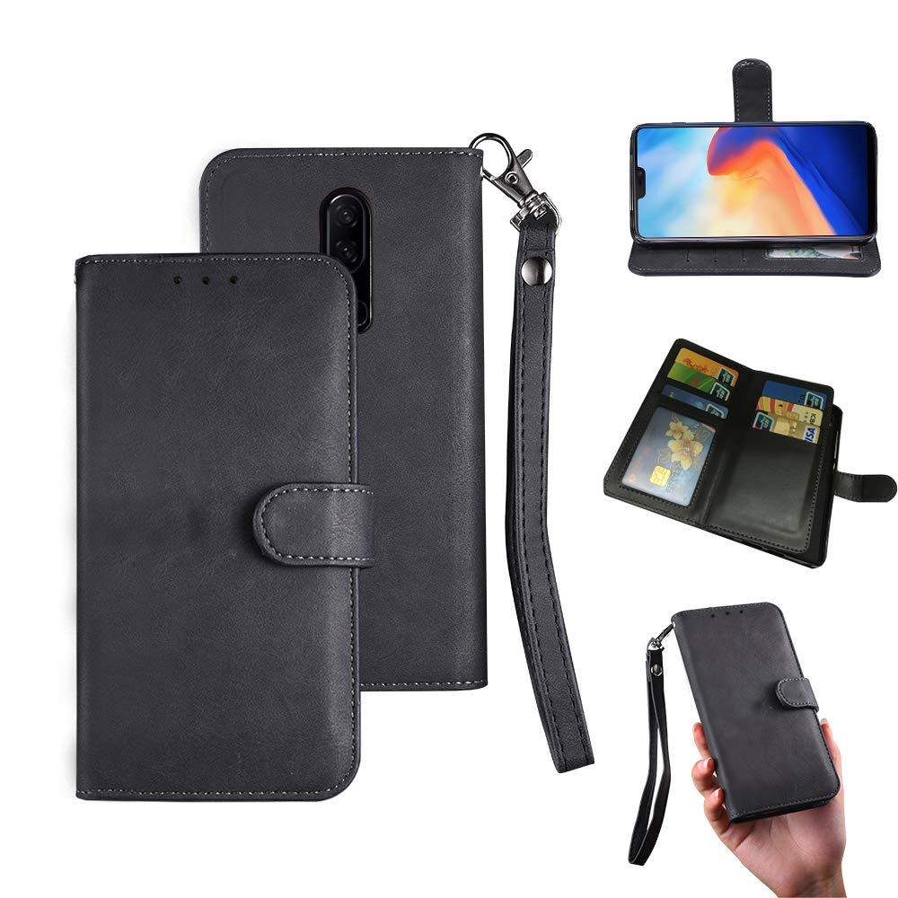 Oneplus 6 Case, Oneplus 6 Wallect Case, Flip Magnetic 6 Cards/Photo Slot/Cash Pocket PU Leather Cover with Wrist Strap [Wallet Stand] Case for Oneplus 6 (Black)