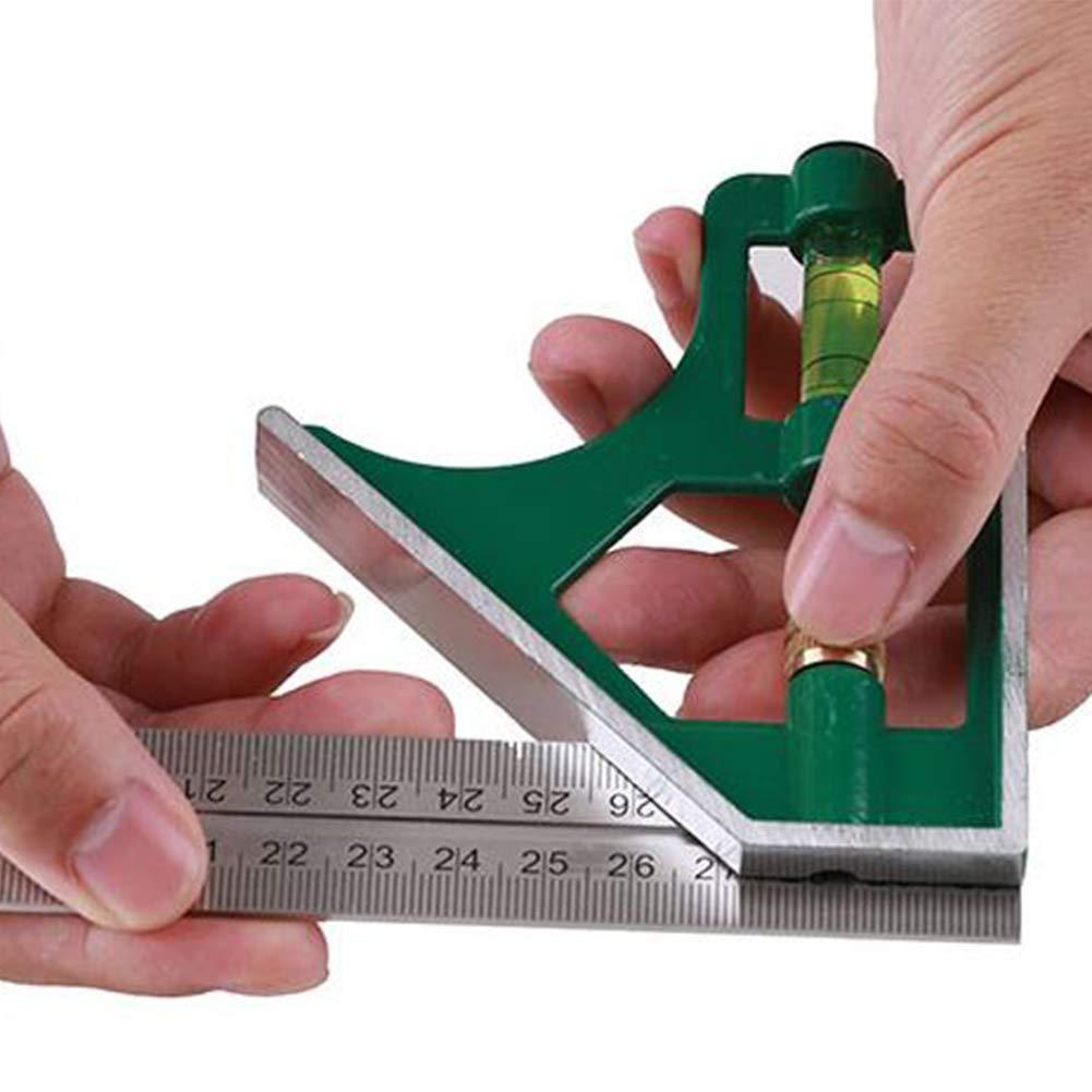 R/ègle en acier inoxydable multi fonction Combinaison r/églable Angle R/ègle portable actif /Équerre /à angle droit R/ègle Outils de mesure avec 300mm de base verte