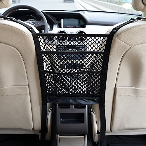 KALASONEER Dog Car Barrier 3-Layer Car Mesh Organizer, Seat Back Storage Pocket, Backseat Pet Barrier, Oxford Washable, Universal Fit (10.8inches x 11.8inches)