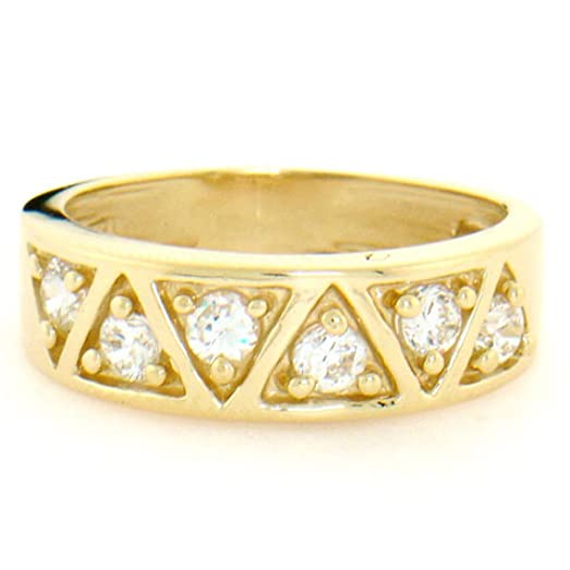 Amazon 14k Solid Yellow Gold Pyramid Design CZ Band Ring Jewelry
