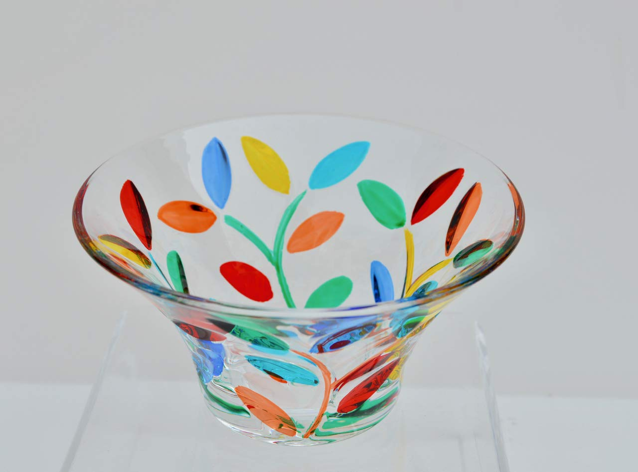 Murano Glass Flowervine Bowl, Small, Red, Orange, Blue, Green, Yellow, 3'' deep, 5'' wide
