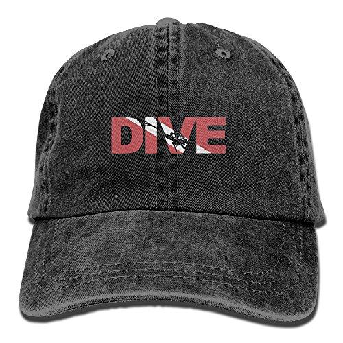Hat Diver (Dive Scuba Diving Washed Retro Adjustable Jeans Caps Leisure Hats ForAdult)