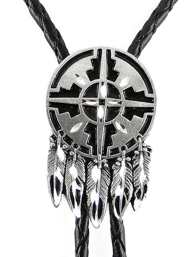 Diamond Cut Bolo Tie Indian Shield - Sculpted Pewter Bolo