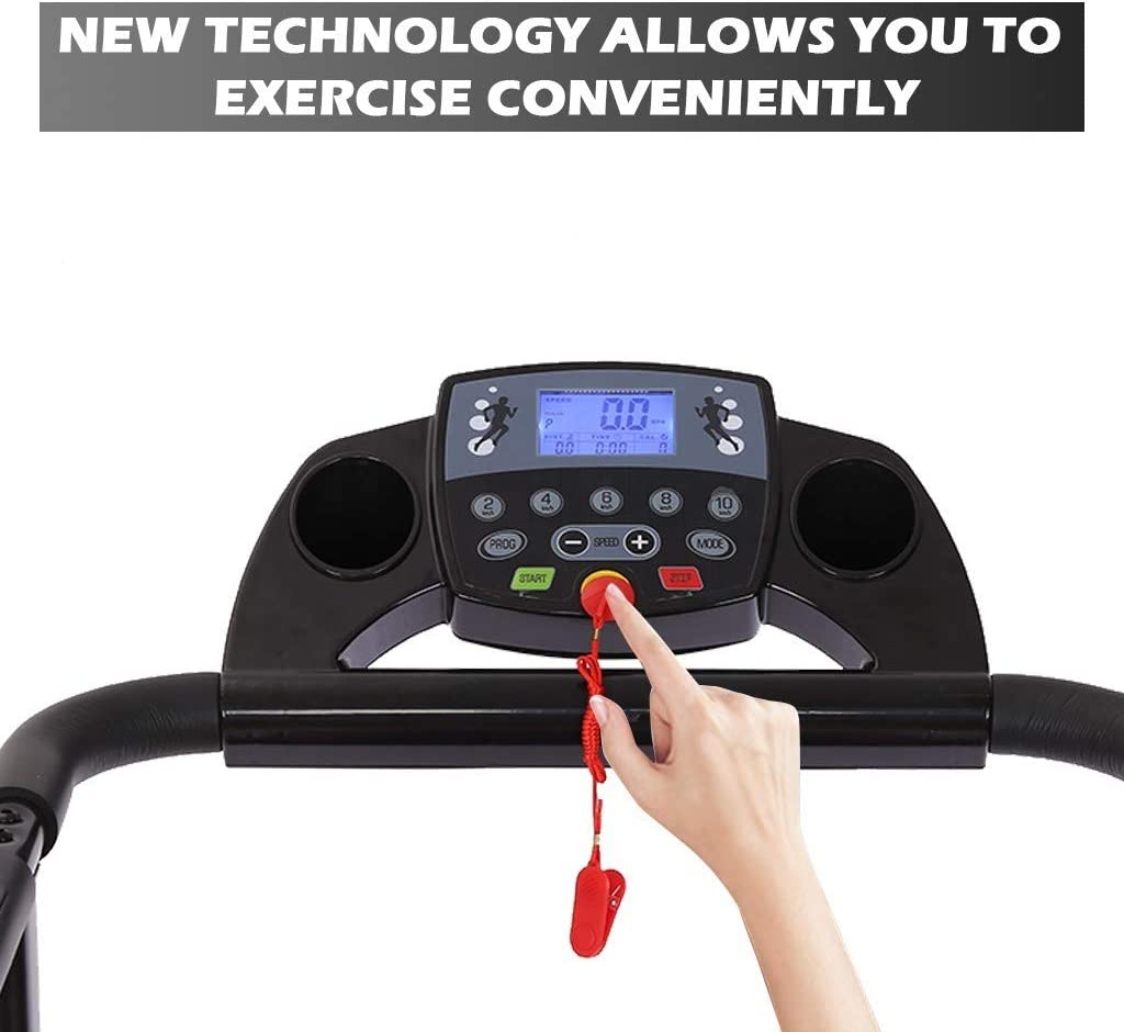 Shock Absorption and Incline Health /& Fitness WSF78-05 Folding Treadmill with Device Holder