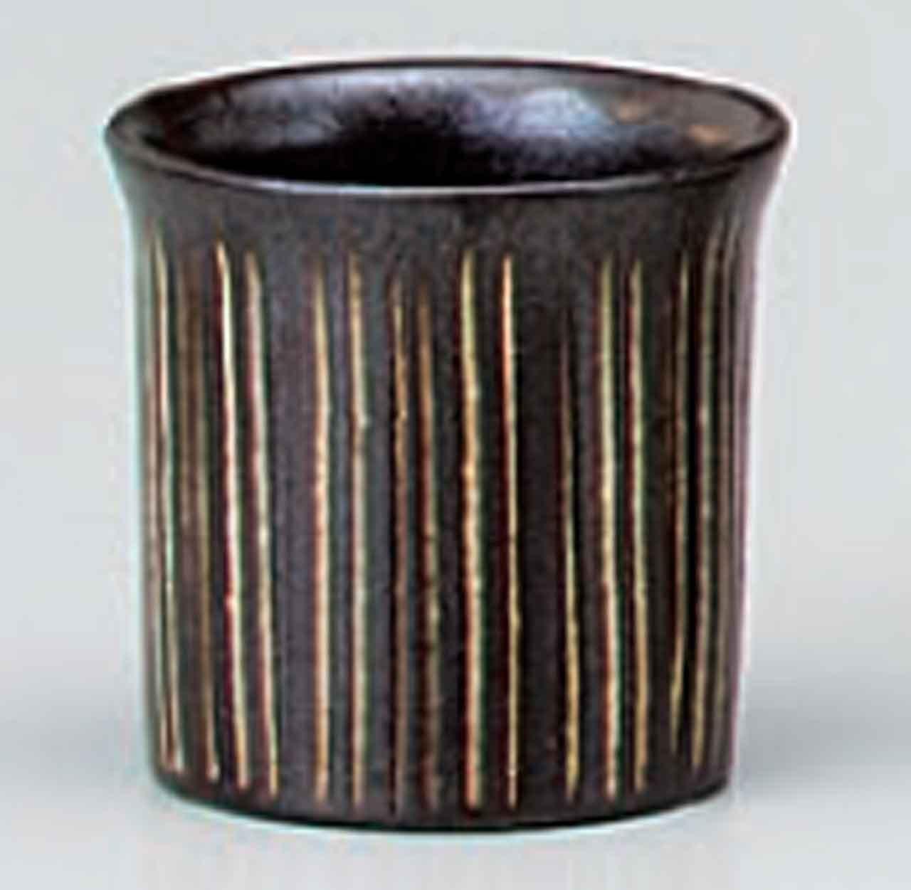 Tokusa-Hori 3.3inch Sake cup Brown porcelain Made in Japan