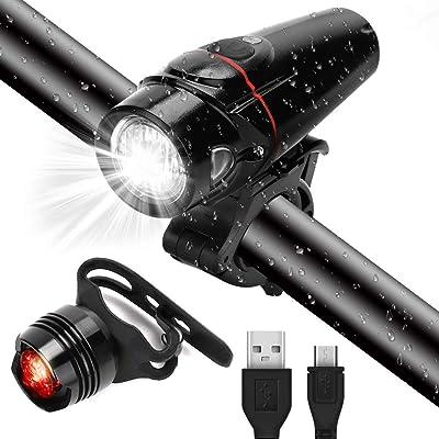 GARDOM Luces Bicicleta, Ricaricabile USB Faros Delanteros da 350 Lumen+ Faros Traseros da 100 Lumen, 3 Modos de Luz, Sensor de Luz, IPX5 Impermeable para Bicicletas, MTB