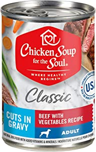 Chicken Soup for The Soul Classic Adult Wet Dog Food, Cuts in Gravy, 13 oz. Cans (Pack of 12) - No Wheat, Corn or Soy - No Artificial Colors, Preservatives, Flavors