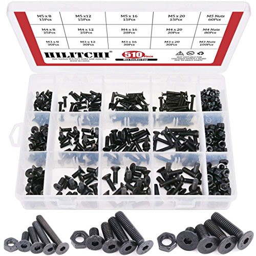 Hilitchi 510-Pcs M3 M4 M5 Alloy Steel Socket Cap Screws Hex Head Bolt Nuts Assortment Kit - 10.9 Grade Alloy Steel (Flat Head)