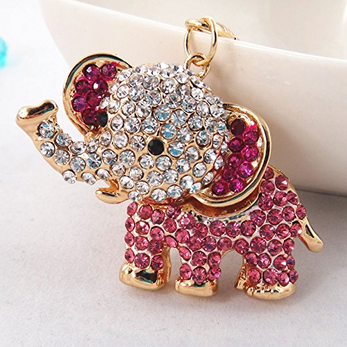 AW Baby ELEPHANT RHINESTONE KEY CHAIN w/ CLASP * Fashionable Purse Charm Jewelry * PERFECT GIFT FOR BIRTHDAYS, CHRISTMAS , HOLDIAYS (PINK ROSE RHINESTONE)