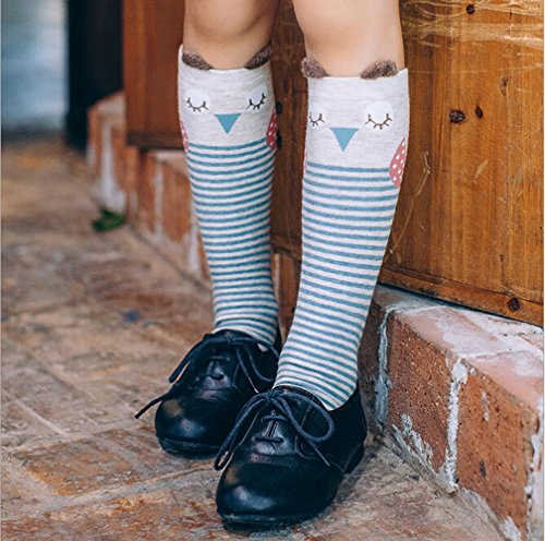 Jamemory Little Girls Cartoon Animal Cat Bear Fox Panda Knee High Calf Cotton Socks 4-9 Years (Owl design)