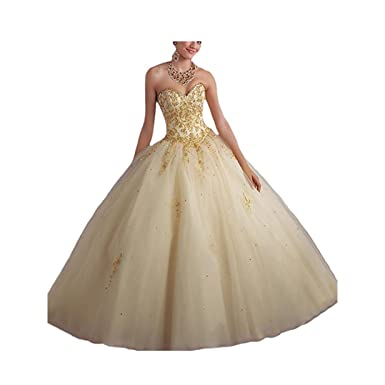 690bbbc5348 DingDingMail Women s Lace Appliques Sweet 15 Ball Gowns Tulle Quinceanera  Dresses Prom Dresses Long Ball Gown
