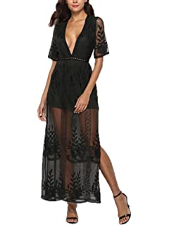 3665c9bb7ca PORALA Women s Short Sleeve Lace Long Dress See Through Deep V-Neck Maxi  Romper Dress