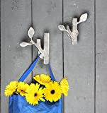 Set of 2 Wall Hooks Home Décor Gift Ideas Home Nursery Accessories with Free Cross and Noughts Game (Silver Leaf Collection)