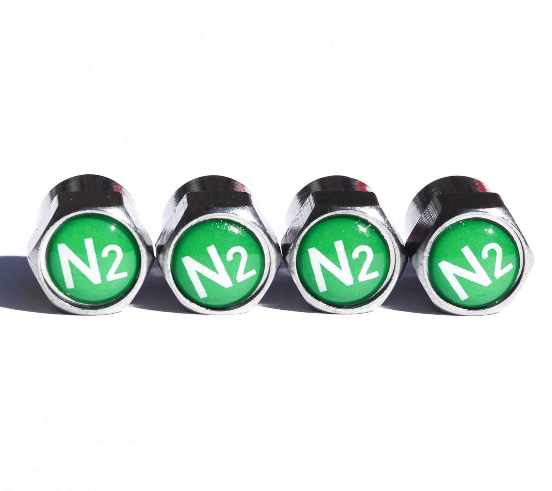 N2 窒素タイヤバルブステムキャップ – クローム表面 – 4個セット   B07BR6SDX9