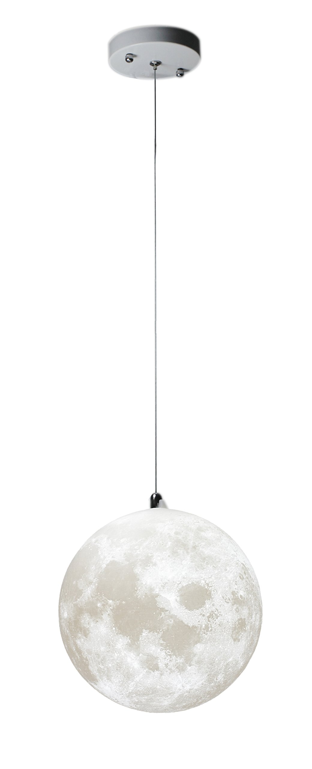 KUNGKEN Moon Chandelier LED 3D Printing Moon Ceiling Lamp Warm and Cool Lighting Bulbs Included for Kitchen Restaurant Cafe Hotel Foyer Decoration 8IN