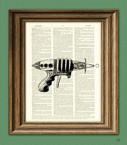 geeky-space-retro-ray-gun-beautifully-upcycled-vintage-dictionary-page-book-art-print