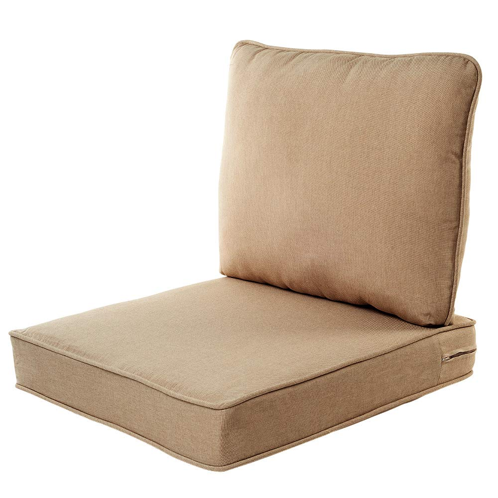 "Quality Outdoor Living 29-BG02SB Chair Cushion, 23"" Width by 26"" Depth, Beige"
